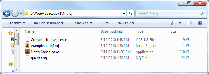 The contents of the Nitriq folder in the example project
